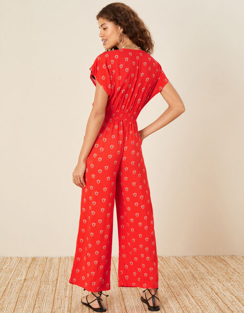 Embroidered Trim Printed Jumpsuit, Red (RED), large