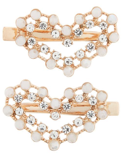 Gemstone and Diamanté Love Heart Hair Clips, , large