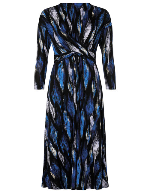 Geo Print Jersey Midi Dress, Blue (BLUE), large