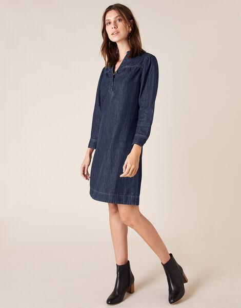 Knee-Length Denim Dress Blue, Blue (BLUE), large