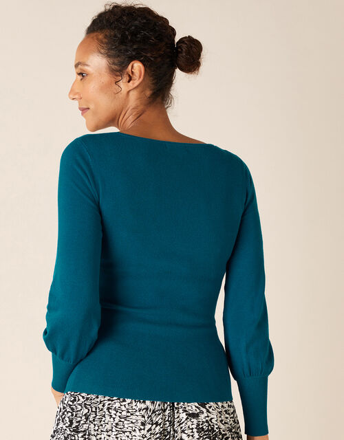 Scoop Neck Rib Jumper, Teal (TEAL), large