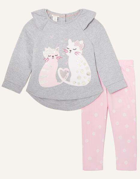 Baby Cat Sweatshirt and Leggings Set Grey, Grey (GREY), large