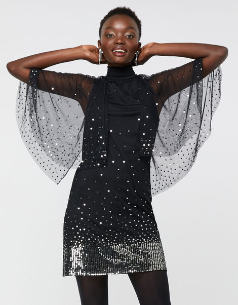Kimberley Sequin Cape Dress Black, Black (BLACK), large