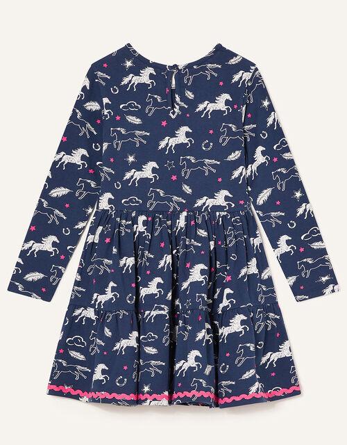 Lana Horse Print Jersey Dress, Blue (NAVY), large