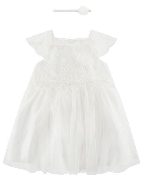 Newborn Baby Lace Dress Ivory, Ivory (IVORY), large