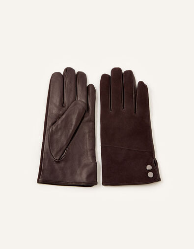 Leather and Suede Gloves Brown, Brown (CHOCOLATE), large