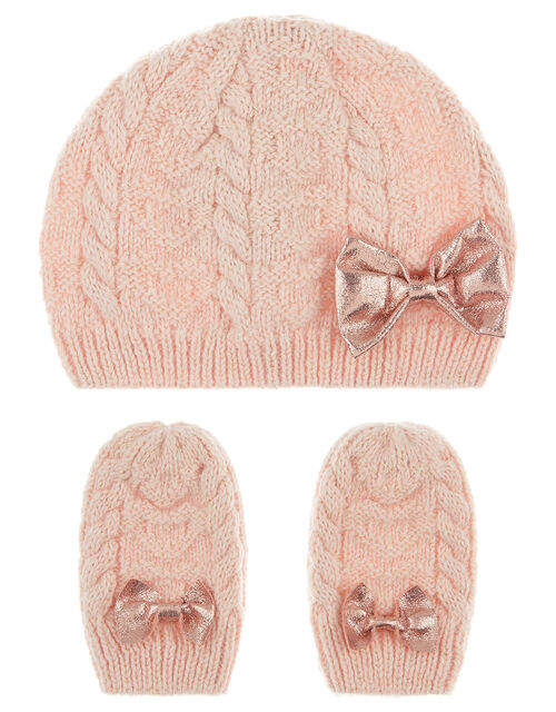 Baby Poppy Beanie and Mittens Set, Pink (PINK), large