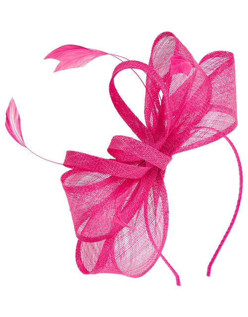 Blair Bow Feather Fascintator, Pink (FUCHSIA), large