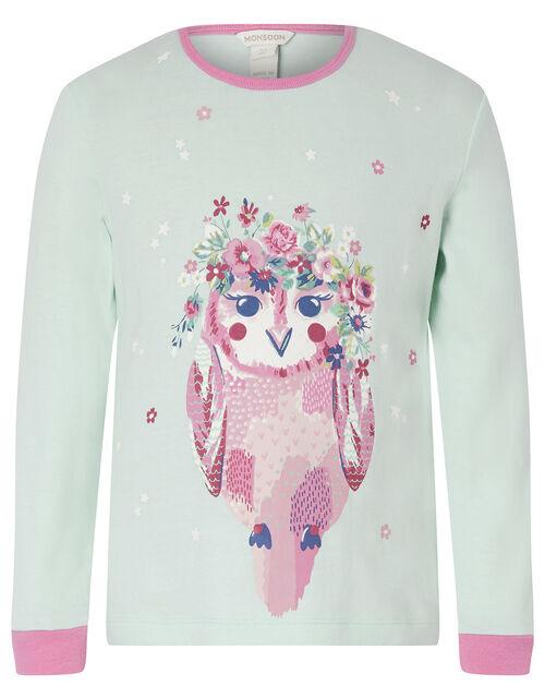 Owl Jersey and Woven Pyjama Set in Organic Cotton, Blue (AQUA), large
