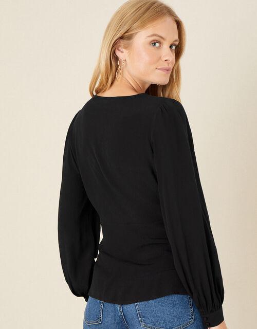 Lace Trim Long Sleeve Blouse, Black (BLACK), large