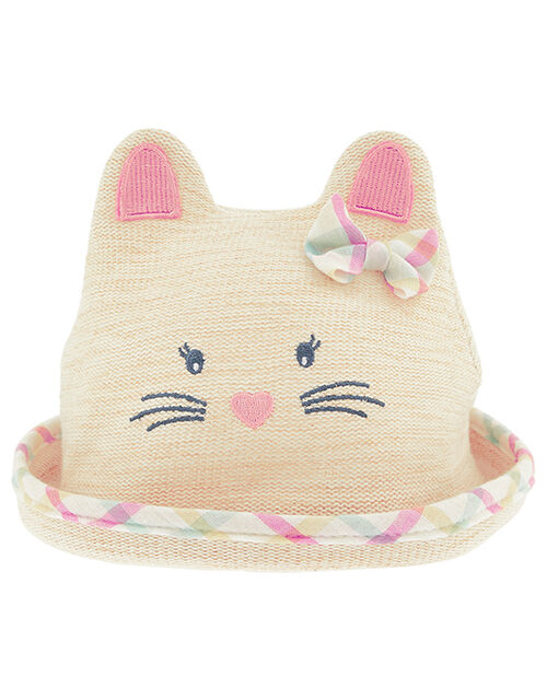 Baby Mollie Moo Bunny Bowler Hat in Organic Cotton, Natural (NATURAL), large