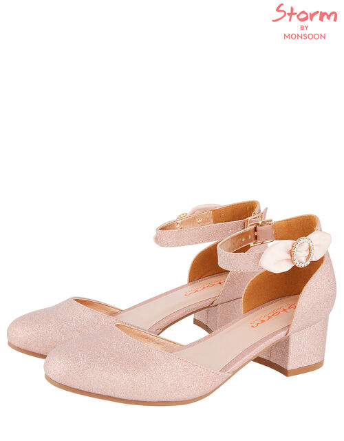Bow Shimmer Two-Part Heeled Shoes, Pink (PINK), large