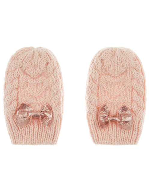 Baby Poppy Shimmer Bow Mittens, Pink (PINK), large