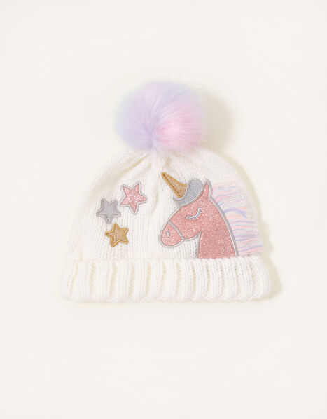 Unicorn Rainbow Pom-Pom Beanie Hat  Multi, Multi (MULTI), large