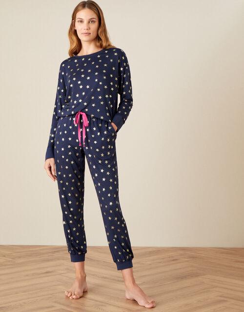 Foil Star Print Pyjama Set, Blue (NAVY), large