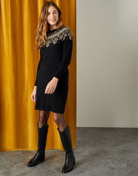 Embellished Fairisle Yoke Knit Dress Black, Black (BLACK), large