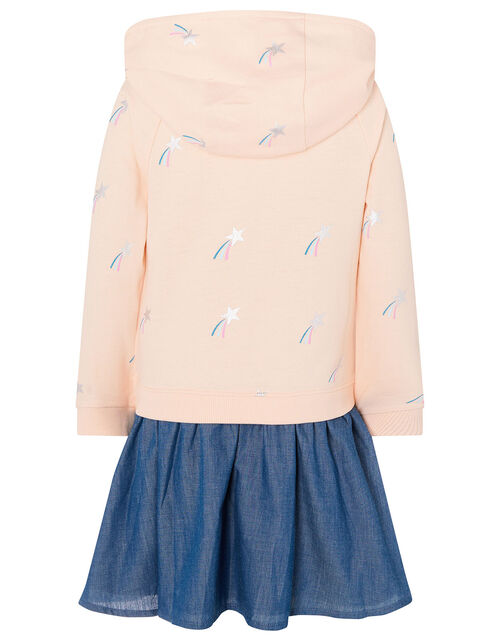 Sequin Shooting Star Hooded 2-in-1 Dress, Nude (NUDE), large