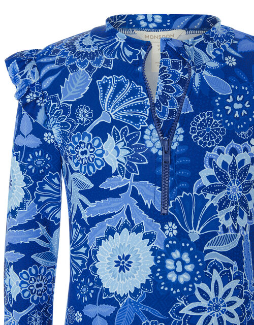 Flower Print Sunsafe Swimsuit, Blue (BLUE), large