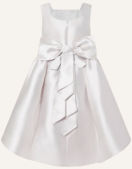 Cynthia Corsage Belt Dress, Silver (SILVER), large