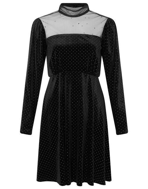 Mia Heat-Seal Gem Short Dress, Black (BLACK), large