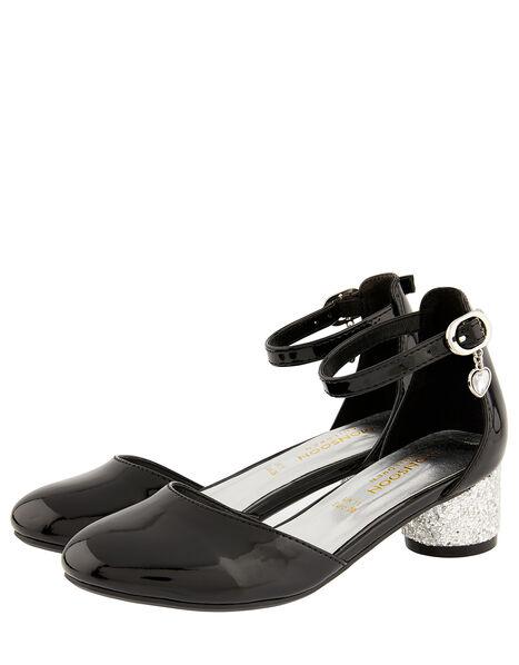 Heart Charm Patent Two-Part Heeled Shoes Black, Black (BLACK), large