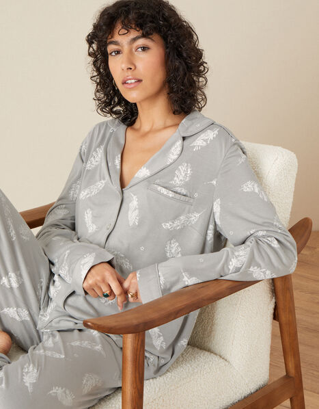 Feather Print Jersey PJ Set Grey, Grey (GREY), large