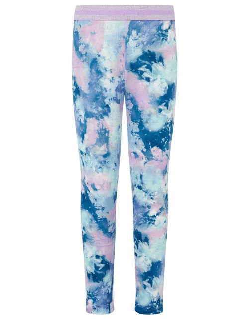 Tie-Dye Print Leggings, Blue (BLUE), large
