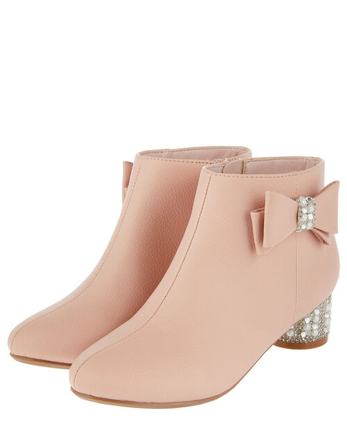 Belinda Pearl and Diamante Heeled Boots, Pink (PINK), large