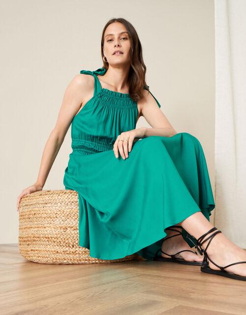 Plain Halter Midi Dress , Green (GREEN), large