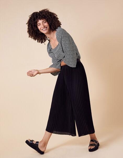 Pleated Culotte Trousers Black, Black (BLACK), large