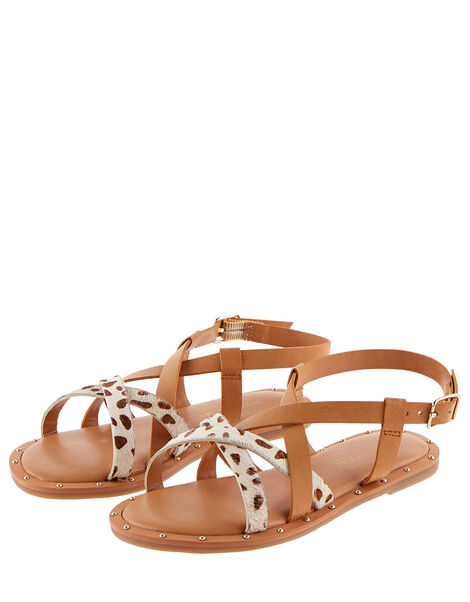 Animal Print Leather Strap Sandals Tan, Tan (TAN), large