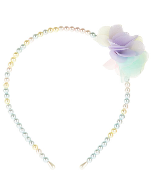 Ombre Pearl Flower Headband , , large