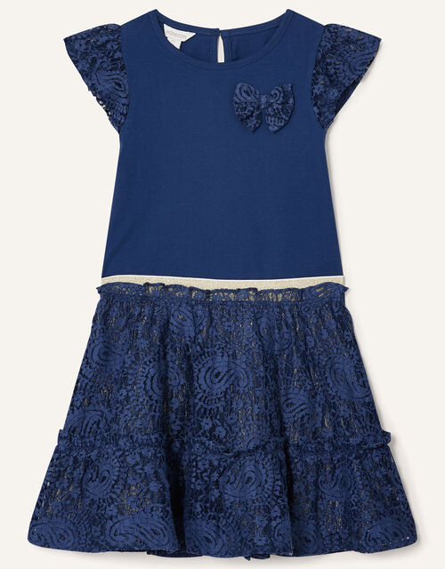 Lace Top and Skirt Set, Blue (NAVY), large