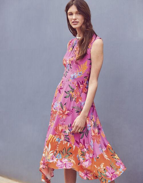 Trixie Printed Hanky Hem Dress, Purple (PURPLE), large