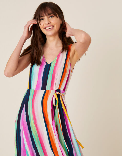 Isla Stripe Maxi Dress in Sustainable Viscose , Pink (PINK), large