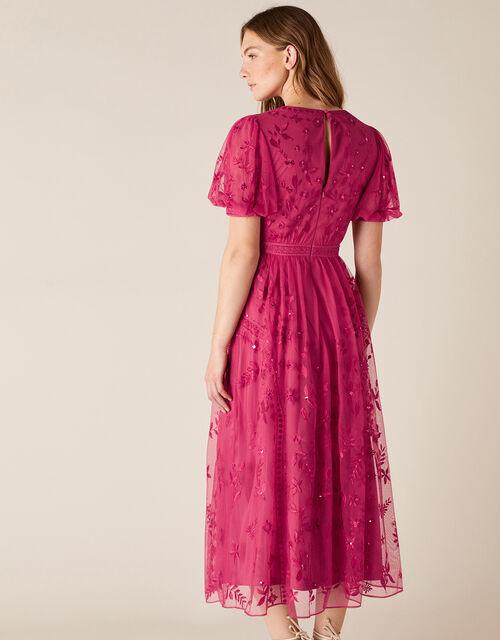 Valerie Sequin Embroidered Tea Dress, Pink (PINK), large