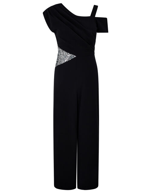 Octavia Sequin Insert Stretch Jumpsuit, Black (BLACK), large