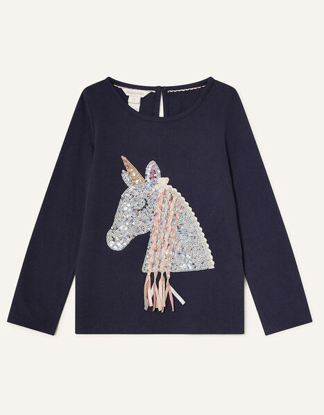 Sequin Horse Long Sleeve Top Blue, Blue (NAVY), large