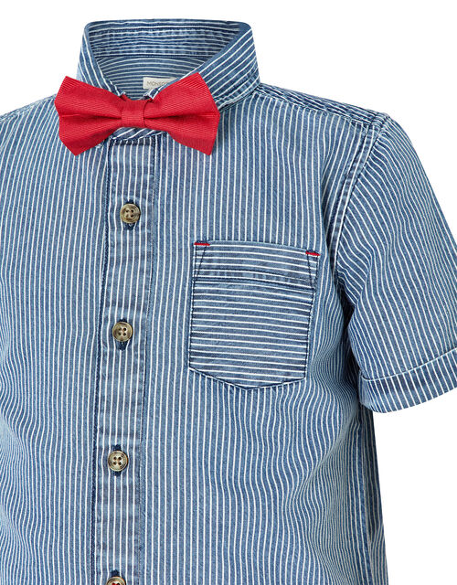 Striped Shirt and Bow Tie Set, Blue (BLUE), large