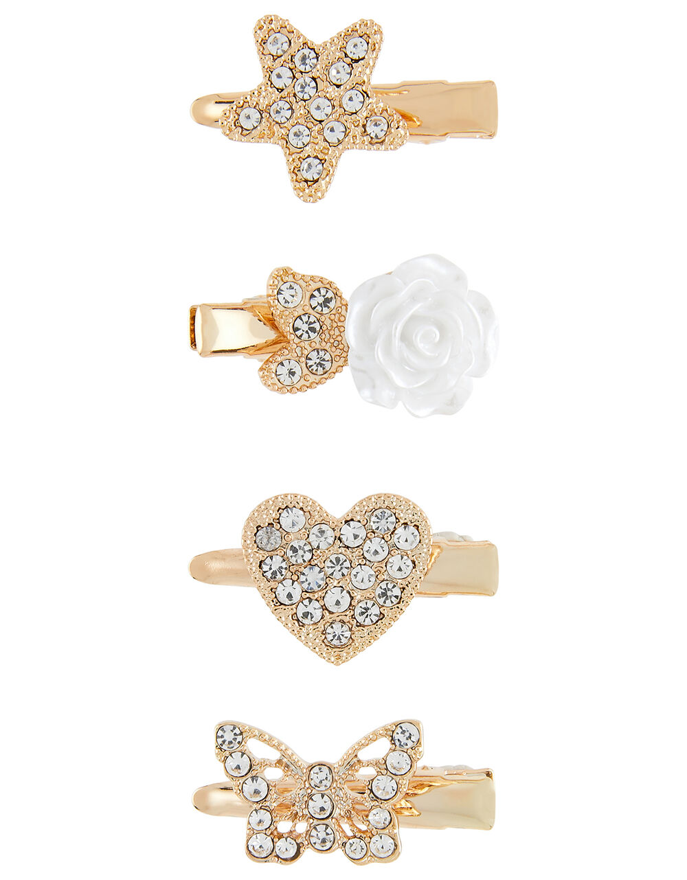 Diamante Mini Hair Clip Set, , large