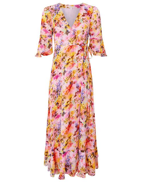 Helen Dealtry Krishana Floral Wrap Dress, Pink (BLUSH), large