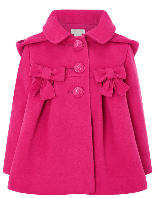Baby Bow Hooded Coat, Pink (PINK), large