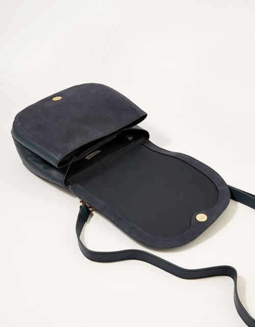 Leather Cross-Body Saddle Bag, , large