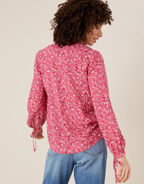 Squiggle Print Metallic Pinstripe Blouse, Pink (PINK), large