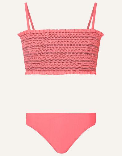 Stitchy Shirred Bikini Set Orange, Orange (CORAL), large
