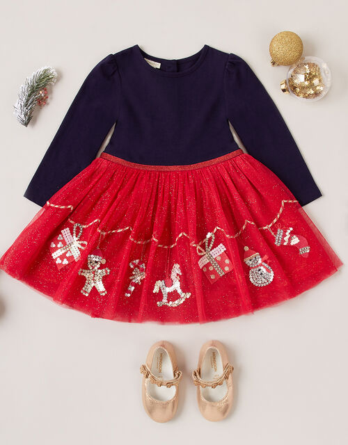 Baby XMAS Glitter Disco Dress, Red (RED), large
