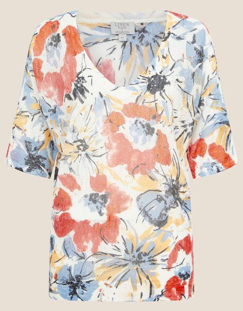Floral Jumper in Linen Blend, Orange (ORANGE), large