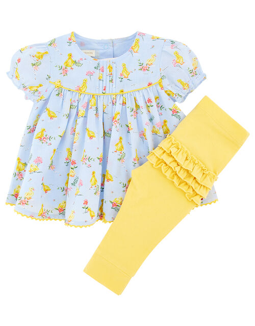 Newborn Baby Duckie Top and Legging Set, Blue (AQUA), large