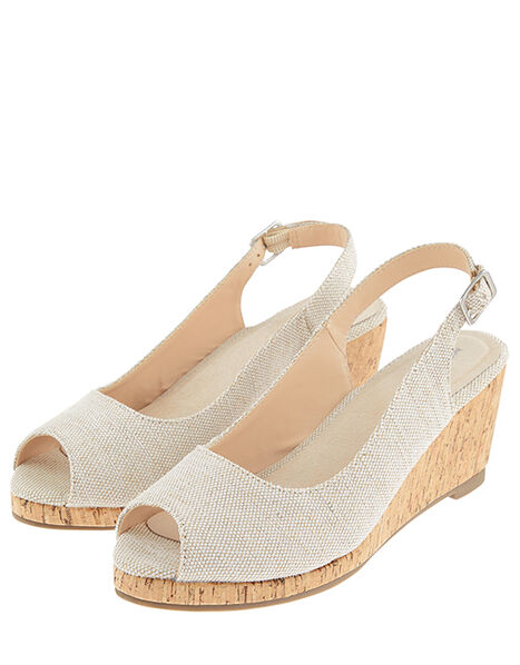 Courtney Cork Wedge Heel Sandals Gold, Gold (GOLD), large