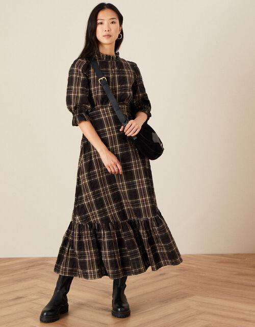 Dayana Check Tiered Hem Dress, Black (BLACK), large